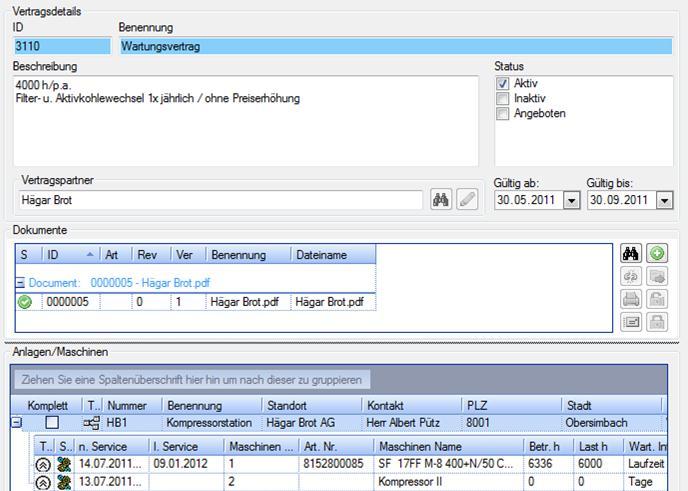 Wartungsvertrag Details zugehörige Dokumente und enthaltene Anlagen / Maschinen